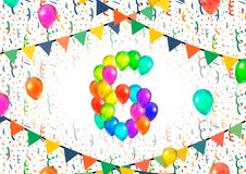 Number six made up from colorful balloons on white background with confetti. Number six made up from bright colorful balloons on white background with confetti Stock Image