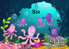 Number six octopus under the sea vector Royalty Free Stock Photography