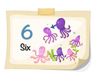 Number six octopus vector Royalty Free Stock Image