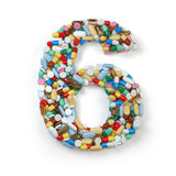 Number 6 six. Set of alphabet of medicine pills, capsules Royalty Free Stock Image