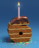 Number six shaped birthday cake. With candle Stock Images