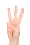 Number six in sign language. Studio shot, isolated on white Royalty Free Stock Photography