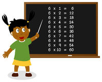 Number Six Times Table on Blackboard royalty free stock images