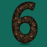 Number Six with Yellow Floral Decor. Royalty Free Stock Photography