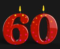 Number Sixty Candles Show Elderly Birthday Or Stock Image