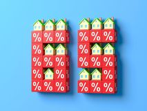 Number Sixty Five With Miniature Houses And Red Percentage Blocks. 3d Illustration vector illustration