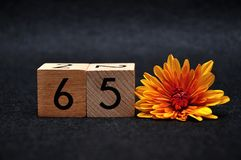 Number sixty five with an orange daisy. On a black background royalty free stock photo