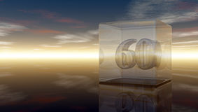 Number sixty in glass cube Stock Images