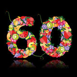 Number sixty made from fruits. Vector Stock Images