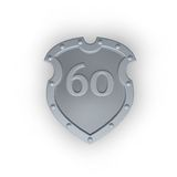 Number sixty on metal shield Royalty Free Stock Photos