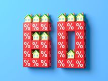 Number Sixty With Miniature Houses And Red Percentage Blocks. 3d Illustration vector illustration