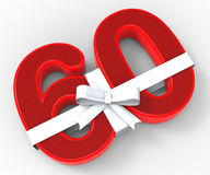 Number Sixty With Ribbon Means Wishing Happy Royalty Free Stock Images