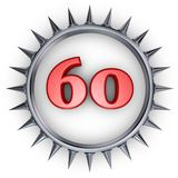 Prickles number. Number sixty in ring with spikes on white background - 3d illustration Stock Photo
