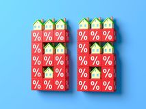Number Sixty Six With Miniature Houses And Red Percentage Blocks. 3d Illustration vector illustration