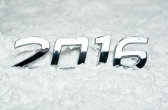 Number 2016 on snow Royalty Free Stock Photo