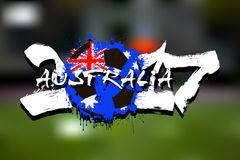 Number 2017 and soccer ball painted in the colors of the Austral Royalty Free Stock Photos