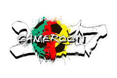 Number 2017 and soccer ball painted in the colors of the Cameroo. Grunge number 2017 and abstract soccer ball painted in the colors of the Cameroon flag. Vector vector illustration