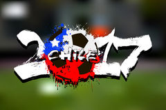 Number 2017 and soccer ball painted in the colors of the Chile f. Grunge number 2017 and abstract soccer ball painted in the colors of the Chile flag. Vector royalty free illustration