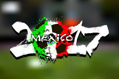 Number 2017 and soccer ball painted in the colors of the Mexico. Grunge number 2017 and abstract soccer ball painted in the colors of the Mexico flag. Vector royalty free illustration