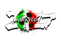 Number 2017 and soccer ball painted in the colors of the Mexico. Grunge number 2017 and abstract soccer ball painted in the colors of the Mexico flag. Vector vector illustration
