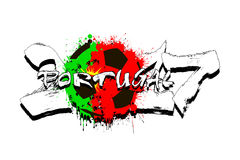 Number 2017 and soccer ball painted in the colors of the Portuga. Grunge number 2017 and abstract soccer ball painted in the colors of the Portugal flag. Vector stock illustration