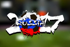 Number 2017 and soccer ball painted in the colors of the Russia. Grunge number 2017 and abstract soccer ball painted in the colors of the Russia flag. Vector stock illustration