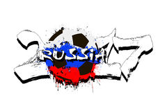 Number 2017 and soccer ball painted in the colors of the Russia. Grunge number 2017 and abstract soccer ball painted in the colors of the Russia flag. Vector royalty free illustration