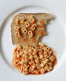 Number Spaghetti On Toast Royalty Free Stock Image