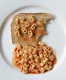 Number spaghetti on toast Royalty Free Stock Image