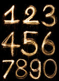 Number. Sparkler firework light Number alphabet Royalty Free Stock Images