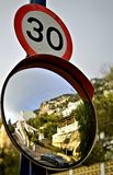 Number 30 - Speed Limit Sign and Mirror. Speed limit sign 30 with convex mirror Royalty Free Stock Photos