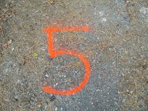 Number 5 Spray Paint Stock Photo