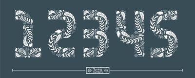 Number spring hand drawn style in a set 12345 vector illustration