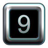 Number button, metallic button with black background stock illustration