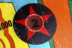 Number 2 star decal light on pinball machine Stock Photo