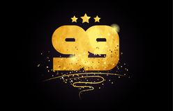 99 number icon design with golden star and glitter. 99 number with star and golden glitter on black background suitable for icon or typography logo design stock illustration