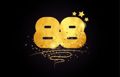 88 number icon design with golden star and glitter. 88 number with star and golden glitter on black background suitable for icon or typography logo design stock illustration