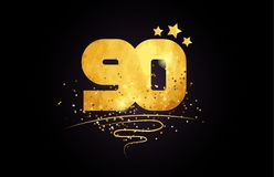 90 number icon design with golden star and glitter. 90 number with star and golden glitter on black background suitable for icon or typography logo design royalty free illustration