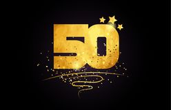 50 number icon design with golden star and glitter. 50 number with star and golden glitter on black background suitable for icon or typography logo design stock illustration