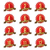 1-12 number starburst, bursts /Anniversary badge. With shadow flat vector icons on white background stock illustration
