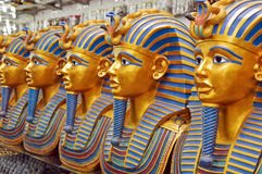 A number of statues of pharaohs in the gift shop Royalty Free Stock Photos