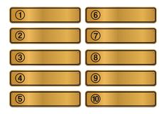 Number step, gold sign style Royalty Free Stock Images