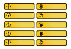 Number step, yellow sign style. Suitable for user interface Stock Image