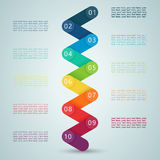 Number Steps 3d Infographic 1 to 10 D. Number Steps 3d Infographic 1 to 10, colourful, zig zag ribbon, with space for text and editable transparent drop shadow Stock Image