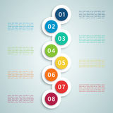 Number Steps Infographic 7. 3d Number Steps Infographic 1 to 8 bullet points, colourful with space for text and editable transparent drop shadows vector made in Stock Photos