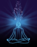 Number Streaming Meditation. Outline diagram of a male in lotus position with a blue light burst behind his head and a stream of random numbers flowing down into royalty free illustration