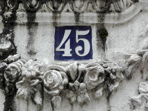 Number 45 in street sign. In Pontedeume, Galicia, Spain Stock Photo