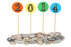 Number 2014 on tablets Stock Photos