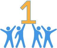 Number 1 Team people celebrate big win. People celebrate Number One group teamwork win royalty free illustration