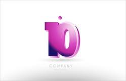 Number 10 ten black white pink logo icon design. Number 10 ten black white pink bold logo creative company icon design template 3d background royalty free illustration